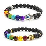 Achat Perlen 7 Chakras Energie Stein Armband Yoga Healing Balance