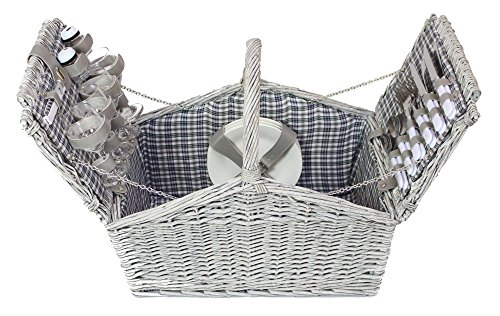 Picknickkorb 'Landpartie' für 4 Personen (24-teilig) aus Vollweide in weiß
