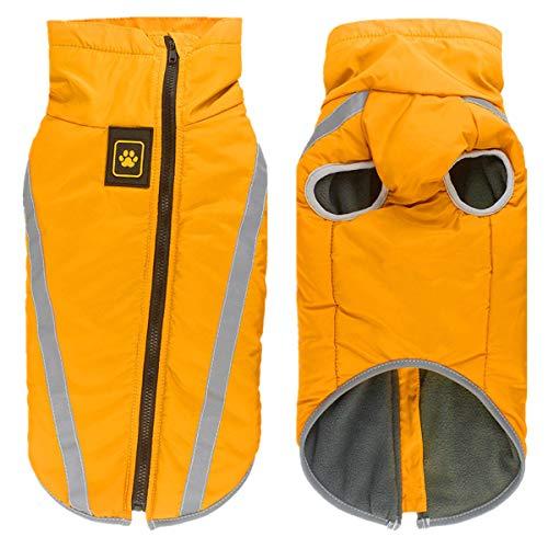 Smniao Hunde Kleidung für Große Mittlere und Kleine Hunde Wasserdichter Wintermantel Regenjacke Haustier Mantel Pullover Kostüm (XL, Gelb)