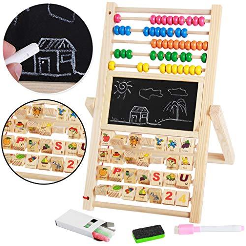 Hunpta@ Kreidetafeln Kinder Hölzerne Pädagogische Kindertafel Spiel Zahlen, Die Kreatives 3 in 1 Spielzeug Lernen (A)