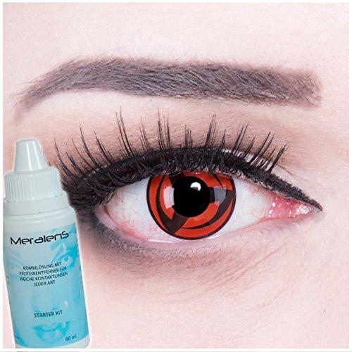 Meralens Big Mangekyou 14mm Kontaktlinsen mit Pflegemittel mit Behälter ohne Stärke, 1er Pack (1 x 2 Stück)