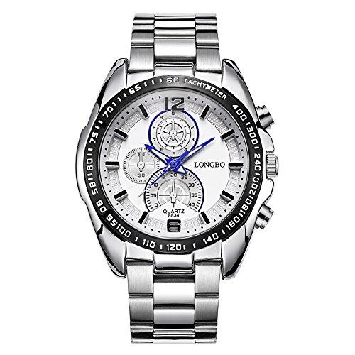 iLove EU Herren-Armbanduhr Sportuhr Analog Quarz 3ATM wasserdicht LED Licht Blau Gauge-Nadeln Edelstahl Silber mit Weiß Zifferblat -