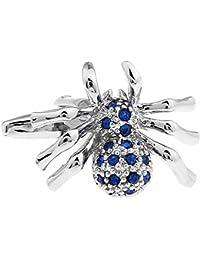 MFYS Damen Neuheit Spider Design Manschettenknöpfe Für Herren Blau Kristall Manschettenknöpfe mit Box