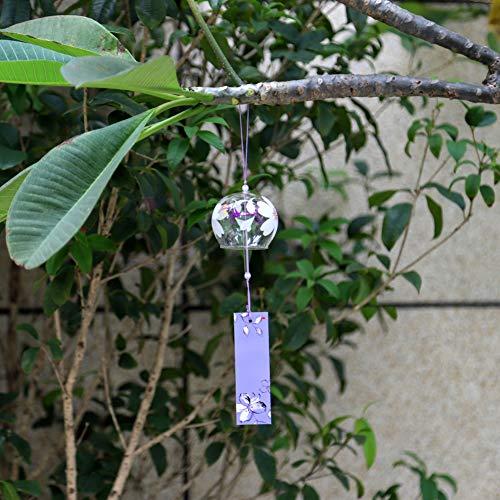 Qianren Japanischen Stil Windspiele Handgemachtes Glas Gemalt Hängen Dekor für Fenster Zimmer Sakura Schneeflocke Muster