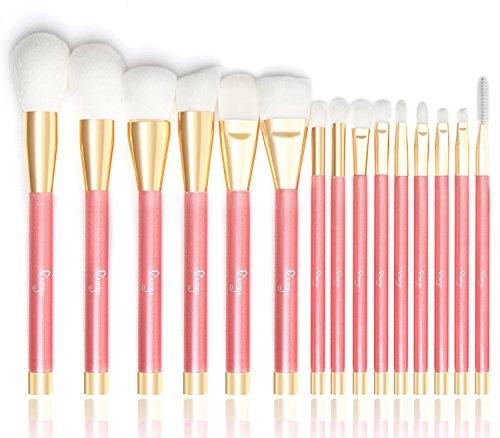 Makeup Brushes, Qivange Foundation Brush Eyebrow Brush Eye Makeup Brushes Set Synthetic Make up Brushes (15pcs, Cherry Pink)