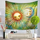 Crazy Cart Tapisserie Psychedelic Indian Sun Moon Serie