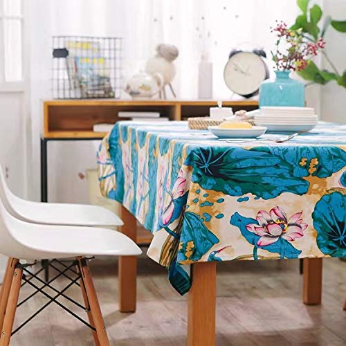 Creek Ywh Tinta Lotus Table Cloth Blue Lotus Mantel