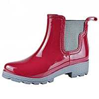 Jamrom Women Stylish Chelsea Boots Snow Rain Boots High Ankle Chunky Heel Wellington Boots