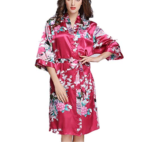 Damen Kimono Pyjama, Spitze V-Ausschnitt Satin Brautkleid Hochzeit/Hochzeit/Party, Satin dünnen Bademantel/mittellange Strickjacke Morgenkleid   Burgund    S -