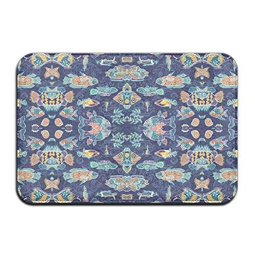 WITHY Non-Slip Bath Mat, Bathroom Rug Mat, Blue Magic Fish Fabric (2392) Senior Design Area Rugs for Living Room(15.7X23.6 inch/40X60cm) (Magic Fish Bowl)