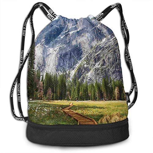 MLNHY North Dome As Seen from The Valley Basketball Drawstring Bag Backpack Bundle Backpack Dome Bundle