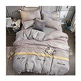 AmDxD Bettlaken, Bettbezug und Kissenbezügen aus Polyester Hahnentritt Design 4 Teilig Bettdeckenbezug Bettwäscheset Grau