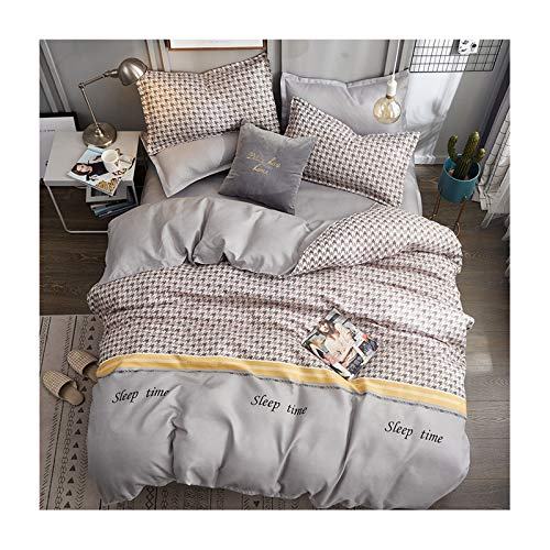 AmDxD Bettlaken, Bettbezug und Kissenbezügen aus Polyester Hahnentritt Design 4 Teilig Bettwäsche-Sets Spannbetttuch Grau -