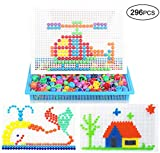 JIAHGUK Kid DIY 3D Jigsaws Puzzle 296Pcs Building Block Baby Mushroom Nail Infant Mosaic Pegboard Toddler Boy Educational Toy Set Girl Creative Portable Game Board Birthday over 3 Age Children