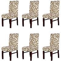 6 × Extraíble Estirable Sillas de Comedor Duradera Lavable Cubierta de Asiento