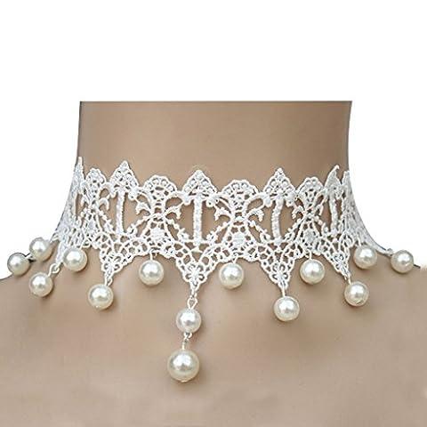 Foopp élégant style gothique Dentelle Perle Chaîne Pendentif Collier pour fête de mariage (Blanc)