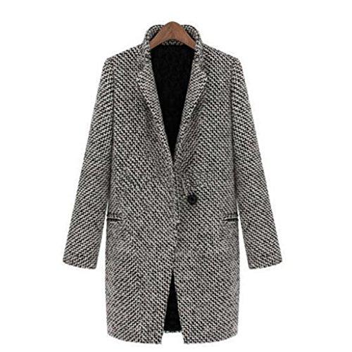 Amlaiworld Manteau Veste Blouson Femme, Slim Hiver Chaud Pardessus Revers Laine Manteau Long Trench Parka Jacket Outwear (S, Noir)