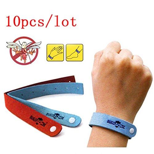Gusspoewr, 10 fasce antizanzare, braccialetto repellente per insetti, per bambini e adulti