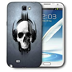 Snoogg Music Skull Headphones Printed Protective Phone Back Case Cover For Samsung Galaxy Note 2 / Note II