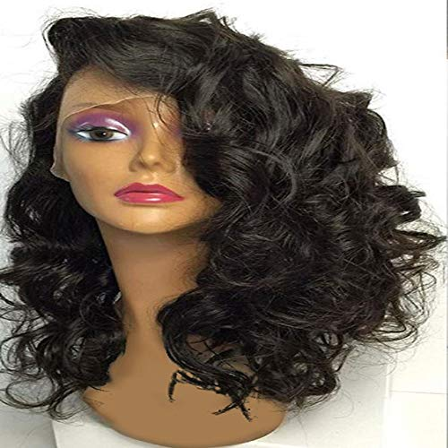 YHXQM Peluca de cabello humano virgen indio con aspecto natural y rizado, parte lateral corta, con encaje...