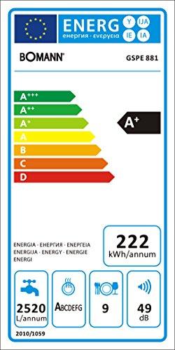 Bomann gspe 881teilintegrierbarer Lave-vaisselle encastrable, classe énergétique A +, acier inoxydable, 45Cm, 9maßgedecke