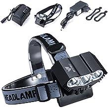 Modos impermeables del interruptor de la lámpara +Battery Pack+Charger 4 de la luz de la bici de la luz de la bicicleta del lumen XML U2 LED de la luz 7500 de la bici del buho LED (negro)
