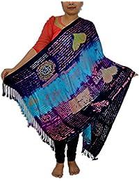 Sanvitta's Tie Dye Mystery Print Viscose Satin Stole Shawl Wrap