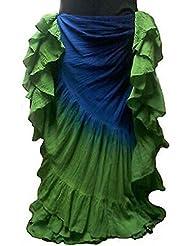 25Yard algodón falda Tribal Gitana Danza del Vientre disfraz Royal azul y verde 03