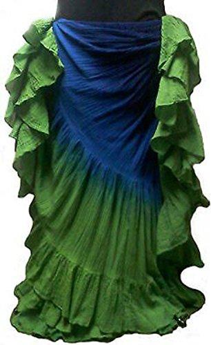 25Yard Baumwolle Rock Tribal Gypsy Bauchtanz Kostüm Royal Blau Grün (Arabo Kostüm)