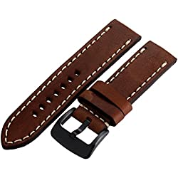 Tech Swiss LEA1558-24 Calfskin Brown Leather Extra Thick 24mm