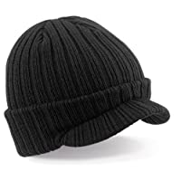 BEECHFIELD PEAKED BEANIE - RIBBED WARM CAP HAT - 3 COLOURS (BLACK)(Size: One Size)