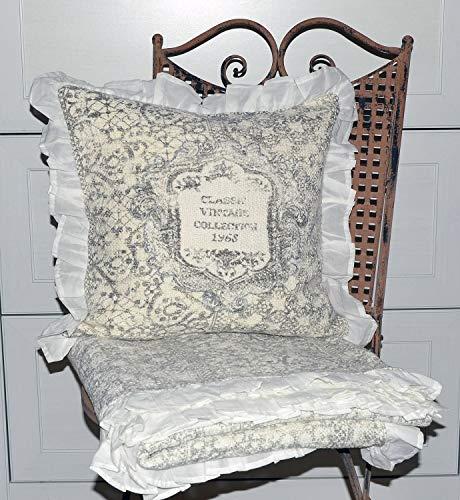 heine home Plaid Couch Decke mit Rüschen Vintage ca. 130x170 cm+Kissen 40x40 cm