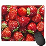 Mouse Pad Strawberry Pattern Rectangle Rubber Mousepad 11.81 X 9.84 Inch Gaming Mouse Pad with Black Lock Edge