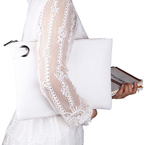 ZOONAI Übergroße Clutch Bag Geldbörse, Womens Große Leder Abend Wristlet Handtasche (Clutch Leder Bag)