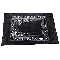 Hitopin Portable Noir Couleur Tapis de prière musulmane avec Compass Format de poche Tapis de prière Ompass Qibla Finder avec livret Matière étanche Hpuk-pmbk