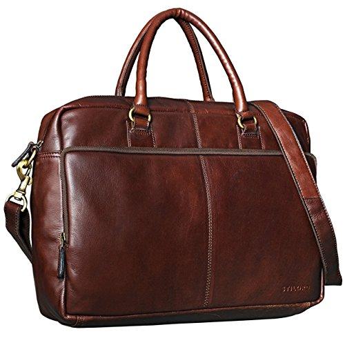 STILORD 'Aaron' Umhängetasche Leder 15,6 Zoll Laptoptasche Aktentasche Bürotasche Unitasche mit Schultergurt Business Vintage, Farbe:schokoladen - braun (Tasche Schokolade Leder Handtaschen)