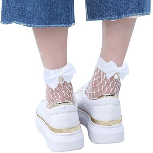 Damen Netzsocken, SHOBDW Frauen Ruffle Netzsknöchelstrümpfe Mesh-Spitze Fisch-Netz kurze Socken (Weiß) (Dot Fischnetz)