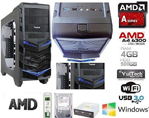 RGDIGITAL - Desktop PC gaming oblivion AMD A4-6300 2x3.7GHz (turbo fino a 3.90GHz) 500GB HDD / 4GB RAM/AMD Radeon HD 8370D / WiFi/DVD RW / USB3.0 USB2.0 / UFFICIO LAVORO AZIENDE SALA SCOMMESSE
