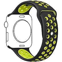 Ontube para Apple watch Correa Nike + Serie 1 Serie 2, Soft Silicona Estilo Deportivo Reemplazo para iWatch Correa M/L 42mm Negro/voltio
