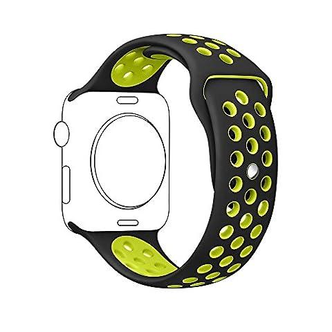 Pour Apple Montre bande Série 2 série 1, souple en silicone bande sport bracelet sangle de rechange pour iwatch Taille M/L