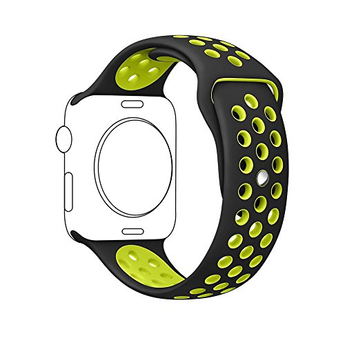 Ontube für Apple Watch Armband Nike + Serie 1/2, (Nicht Fit iWatch 38mm) Weiche Silikon Sport Armband Ersatzband für iwatch Uhrenarmband M/L Größe 42mm Schwarz/Gelb (Nike Armband)