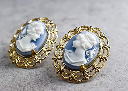 Barock Lady Kamee Ohrstecker im Vintage Stil -blau-
