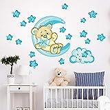 R00318 Stickers Muraux Ours étoiles Lune Décoration Murale Chambre D'enfants Maternelle