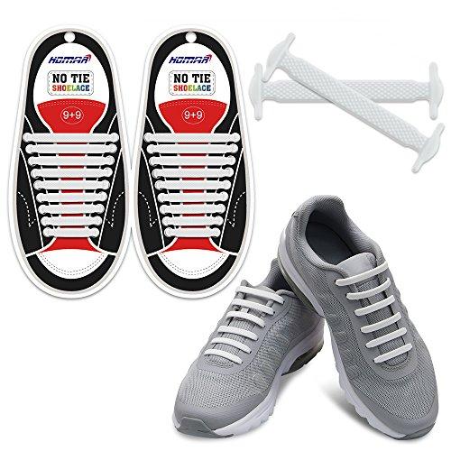 es für Kinder und Erwachsene Wasserdichte Silikon flache elastische Sportlauf Schnürsenkel mit Multicolor für Sneaker Stiefel Brettschuhe und Freizeitschuhe, Adult Size White, Adult Size ()