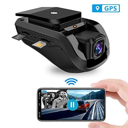 Dash cam , Toptellite Video Remoto 3G Wifi Dual Dash Cámara de Coche Conducir Grabadora 1080P con GPS Incorporado, Grabación en Bucle, Sensor G, Visión Nocturna - Tarjeta de 16GB TF Gratis