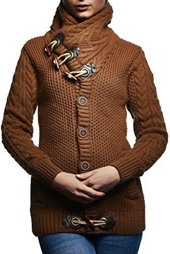 LEIF NELSON Damen Strickjacke Jacke Pullover Hoodie Langarm Shirt Sweatjacke Sweater Schalkragen Strick LN4195D; Größe M, Braun/Camel