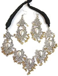 Mustard Bee Aghani Colorful Silver Oxidized Bollywood Style Beaded Crescent Long Necklace For Girls And Women