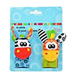 Lumanuby 4 Pcs/Set Soft Baby Toy Wrist Rattle Strap Socks Cute Donkey Monkey Panda Dog Cartoon Garden Bug Plush Rattle With Ring Bell Promote Baby's Vision, Hearing And Intelligence Development 5