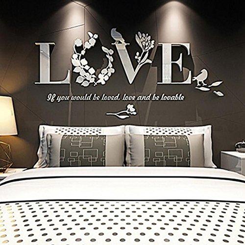 LuckyGirls 3D Wandaufkleber Stilvolle abnehmbare Blatt LOVE Wand Aufkleber Art Acryl Decals Schlafzimmer Dekor (Weiß) Vintage Pc-gehäuse