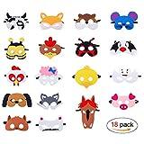 QH-Shop Masken für Kinder Filz Tiermasken Bauernhof-Tiere mit Elastischen Seil für Halloween Weihnachten Geburtstag Bühnenaufführungen Thema Party 18 Stücke